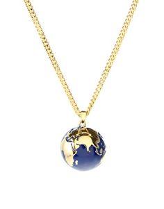 Kitson 14ct Gold Plated Enamel Globe Pendant Necklace ~ $42.43 at asos.com