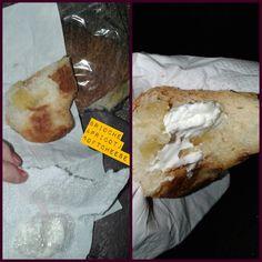 """BRIOCHE apricot (avec sugar) & #softcheese "" #white#orange#insecret#bake I x piece; 40gr. 204k. 10/10sugar.5/2fat.7protein.0,5fiber made with #butter - #margarina#egg so. Eat responsable XD @ incar x @ ome iceCream * straw.sugar #strawberry #pink #rosa gelato preferito. 1palla x 1 $ x 70k. 30- 7-'14 #endof#lastday #vacation'14 mummy…"
