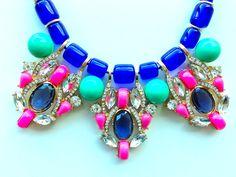 Blue Pink Statement Necklace