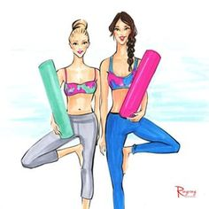 Fashion sketch of two yoga gals called Wednesday we do yoga! Fashion illustration by Rongrong DeVoe by copic markers