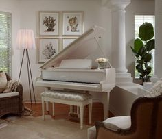 Baby grand piano tucked into a corner of the family room; aganst a setting with a room divider; two chairs directed toward the piano; floor light instead of piano light or table light; wood floor & area rug