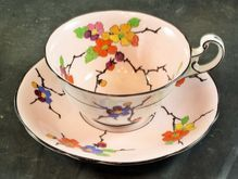 Early Foley China Cup & Saucer with Hand Painted Flowers