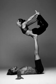 Yoga exercise with tattooed pair #tattoos #tattoo #tatoo #tatoos #tattooed #tattooing #ink #girltattoos #tattooideas #yoga