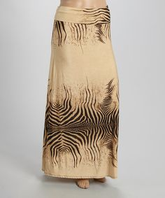Another great find on #zulily! Beige Zebra Maxi Skirt - Plus by MOA Collection #zulilyfinds