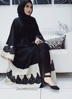 black, hijab fashion, and black&white image