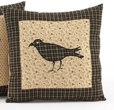 """Country Primitive Kettle Grove CROW Toss Pillow Cover 16"""" Rustic Cabin #VHCBRANDS"""