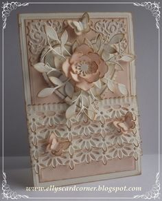 beautiful card ... love the peach and cream together. By Elly's Card Corner