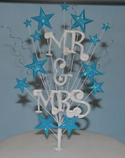 Mr & Mrs Wedding Cake Topper stars glitter decoration spray
