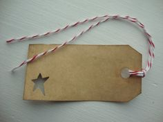 Brown Kraft Hang Tags, Primitive Star Punch Out, Set of 12, Primitive Gift Tags, Holiday Gift Tags via Etsy