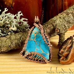 Variscite Crystal Antiqued Copper Wire Wrapped Vintage Necklace Natural Gemstone #MBAHandmade #Wrap