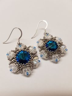 Gorgeous blue flower earrings