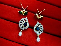 Daphne Six in One Changeable AD Earrings for Women – Ruby, Emerald, Blue Sapphire – Buy Indian Fashion Jewellery Emerald Blue, Blue Sapphire, Women's Earrings, Diamond Earrings, Indian Fashion, Fashion Jewelry, Stuff To Buy, Trendy Fashion Jewelry, Indian Couture