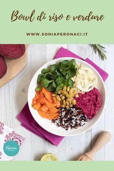 """Le #bowl di #riso e #verdure sono di grande tendenza: sono colorate, nutrienti e sane! Scopri la mia versione e la mia ricetta! Cercando la giusta ispirazione, ho scoperto che arrivano dal lontano Oriente e che oggi sono diffuse in tutto il mondo, meglio note come """"#Buddhabowls"""". Vegan Vegetarian, Vegetarian Recipes, Healthy Recipes, Edamame, Antipasto, Italian Recipes, Hummus, Grande, Healthy Food"""