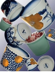 Arita porcelain Soba-choko (cups for noodle soup) by amabro, Japan