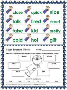 Fun way to learn synonyms! First grade activities :)