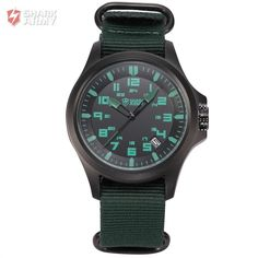 AVENGER Mineral Glass Shark Army Auto Date Green Nylon 3 ATM Water Resistance US Navy Montre Homme Men Military Watch / SAW085