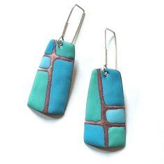 Enamel earrings by Angela Gerhard.: Ceramic Pendant, Ceramic Jewelry, Ceramic Beads, Enamel Jewelry, Ceramic Clay, Glass Jewelry, Jewelry Art, Polymer Clay Earrings, Polymer Clay Art