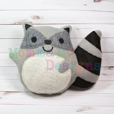 Raccoon Softie Embroidery Design by MommaMC on Etsy https://www.etsy.com/listing/168273432/raccoon-softie-embroidery-design