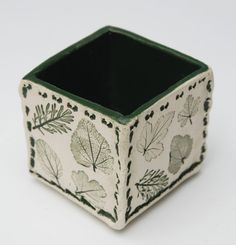 Small Cube Pot green leaf by botanicraft on Etsy
