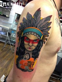 Native American Girl http://tattooideas247.com/native-american-girl-fox/