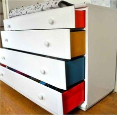 Painting the sides of a dresser adds a delightful detail to a child's room.