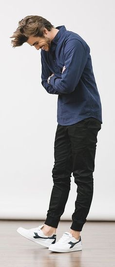 d78c2ea41 Casual fall combo inspiration with a blue button up shirt black joggers no  show socks white