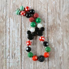 Minnie Mouse Inspired Christmas Chunky Beads Girls Necklace - Disney Inspired Chunky Necklace - Black, Red, White, Emerald Green
