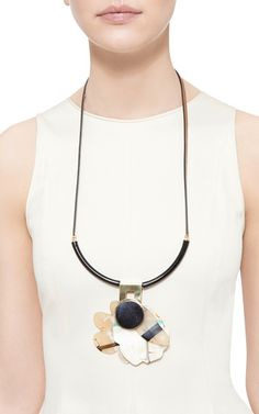 Leather and Horn Long Necklace by Marni Now Available on Moda Operandi