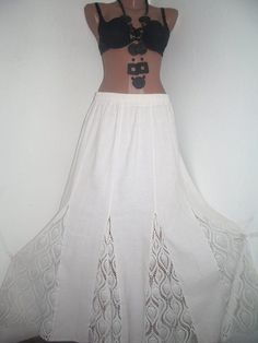 Boho Skirt Gypsy Skirt Maxi Skirt Crochet Skirt by PlusStyle