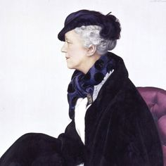 Elsie de Wolfe portrait by Boutet de Monvel, circa 1930. Black and white tailored costume, possibly by Chanel, check. Eugenie hat, check. Bold choice of an upholstery color, take that Syrie Maugham. Deepest tanzanite scarf except that tanzanite hadn't been discovered yet. #boutetdemonvel #elsiedewolfe #1930sstyle #1930sfashion #années30