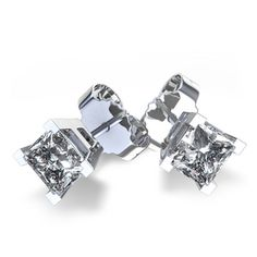 Four+V-Prong+1/2+ctw+Princess+Cut+Diamonds+Studs+in+14k+White+Gold