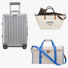 Rimowa Topas Silver Cabin Multiwheel IATA suitcase, $980, bloomingdales.com; Hermès Fourre-tout du Cavalier bag, $2,800, hermes.com; L/Uniform No. 35 bag, $666, luniform.com