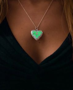 Green Glowing Necklace Glow in the Dark Jewelry by EpicGlows