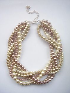 Champagne Blush and ivory pearl necklace