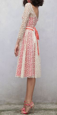 Again, I have found my style completely. I am a girly girl, that loves her pinks. I also love lace. The pattern of lace is amplified, with a color underneath it. This beautiful dress fits the bill to a tee. A true keeper for me !!!