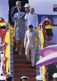 February 3 1988. Princess Diana arriving at Bangkok Airport in Thailand