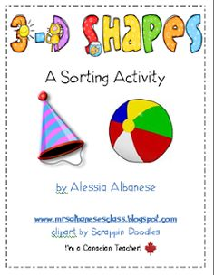 Cute *free* sorting activity using 3-D pictures! It's great to leave out at a pocket chart for a math centre too!