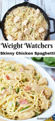 Our delicious and easy Skinny Chicken Spaghetti Recipe is a Weight Watchers FreeStyle dinner recipe you'll love to make! This easy chicken dinner is ready in under 30 minutes!