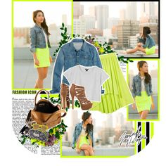 """""""Neon & soft denim"""" by andrea-szilagyi on Polyvore"""
