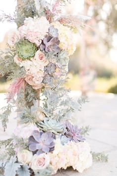 Navy and blush El Chorro wedding. Men in slate blue suits ladies in blush-lavender chiffon full length gowns. White and blush florals with succulents galore. Wooden alter with blush chiffon curtains. Modern Wedding Flowers, Floral Wedding, Wedding Colors, Floral Centerpieces, Wedding Centerpieces, Wedding Decorations, Wedding Bouquets, Floral Arrangements, Spring Wedding