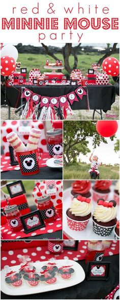 Adorable ideas for a Minnie Mouse birthday party <3 including red velvet cupcakes