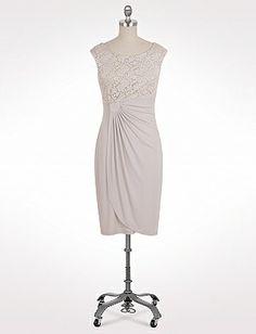 Lace Bodice Faux Wrap Dress | Dressbarn- Mother of bride dress?