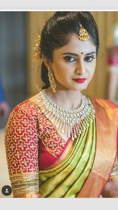 What you like in this portrait? Brides Blouse or Her necklace or her makeup? She looks fabulous with her bridal outfit, makeup and light jewelry. look Wedding Saree Blouse Designs, Silk Saree Blouse Designs, Kurta Designs, Blouse Patterns, Dress Designs, Bridal Silk Saree, Saree Wedding, Tamil Wedding, Bridal Lehenga
