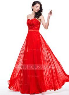 3ae0e281d623 A-Line/Princess Sweetheart Floor-Length Chiffon Lace Prom Dress With  Pleated (