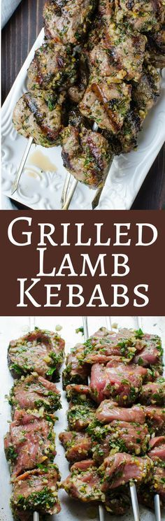 The easiest and best way to cook lamb on the grill! With a bright herb and garlic marinade, it's delicious for any occasion! Grilled Herb Crusted Lamb Kebabs - The easiest, most flavorful lamb - perfect for a weeknight or even for company! Healthy Grilling, Grilling Recipes, Meat Recipes, Cooking Recipes, Healthy Recipes, Budget Cooking, Barbecue Recipes, Recipes With Lamb, Lamb Chop Recipes