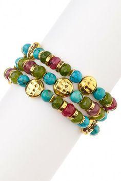 Jade, Turquoise & Pink Agate Stretch Bracelet Set by mariechavez on @HauteLook