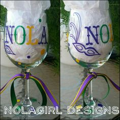 Check out this item in my Etsy shop https://www.etsy.com/listing/208635562/mardi-gras-wine-glass-new-orleans-party