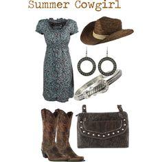 Summer Cowgirl - Ariat Boots, Pink Cattlelac Dress, Shyanne Straw Hat, Montana Silversmith Earrings, West Company Bracelet & Way West Purse