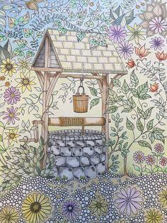 The Well.  (My Colouring Gallery - Johanna Basford's Secret Garden)
