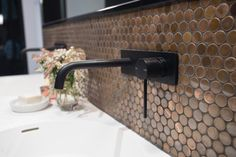 Tiles Talk: 6 Quick Tips for Small Bathrooms - Perini Small Bathroom Tiles, Small Bathrooms, Bathroom Ideas, Tile Showroom, Splashback, Decorative Tile, Master Closet, Wall Lights, Sink